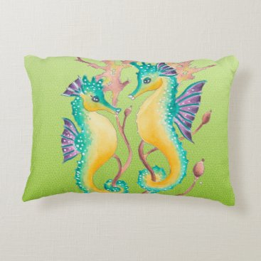 Beach Themed seahorses lime stained glass decorative pillow