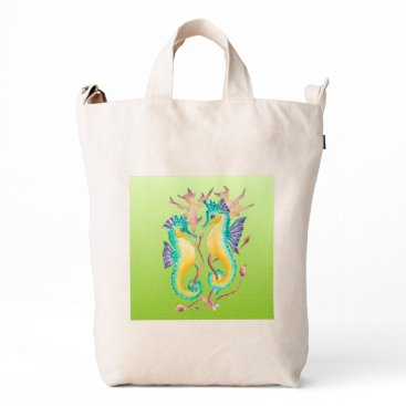 Beach Themed seahorses lime stained glass duck bag