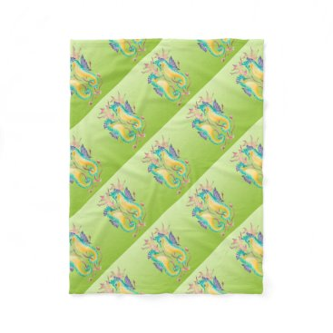 Beach Themed seahorses lime stained glass fleece blanket