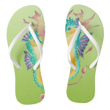 Beach Themed seahorses lime stained glass flip flops