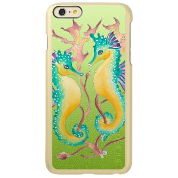 Beach Themed seahorses lime stained glass incipio feather® shine iPhone 6 plus case
