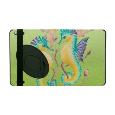 Beach Themed seahorses lime stained glass iPad folio case