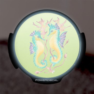 Beach Themed seahorses lime stained glass LED car decal
