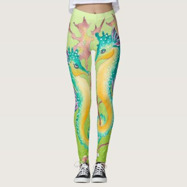 Beach Themed seahorses lime stained glass leggings