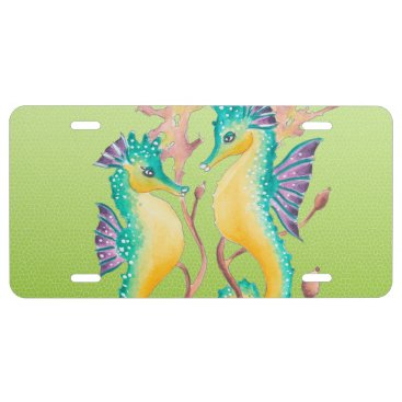 Beach Themed seahorses lime stained glass license plate