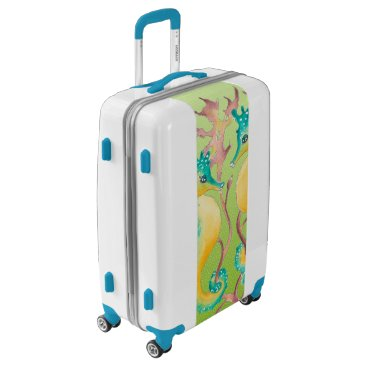 seahorses lime stained glass luggage