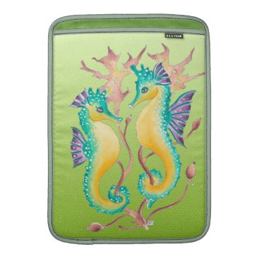 Beach Themed seahorses lime stained glass MacBook sleeve