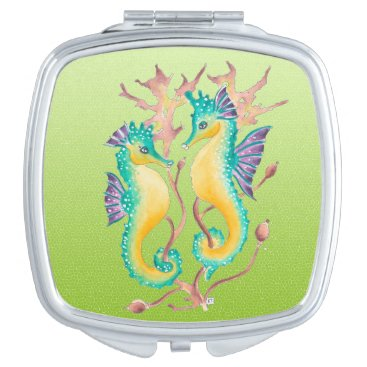 Beach Themed seahorses lime stained glass makeup mirror