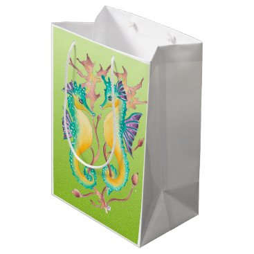 Beach Themed seahorses lime stained glass medium gift bag