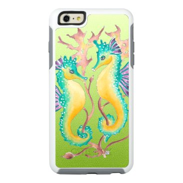 Beach Themed seahorses lime stained glass OtterBox iPhone 6/6s plus case