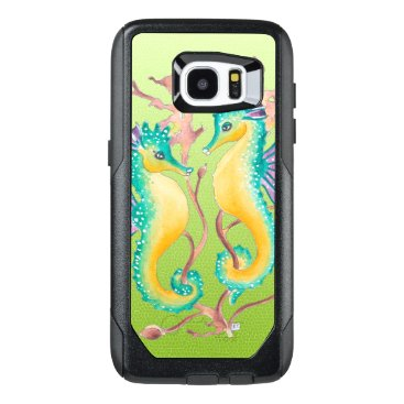 Beach Themed seahorses lime stained glass OtterBox samsung galaxy s7 edge case