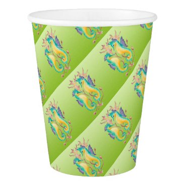 Beach Themed seahorses lime stained glass paper cup