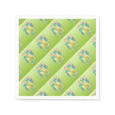 Beach Themed seahorses lime stained glass paper napkin