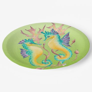 Beach Themed seahorses lime stained glass paper plate