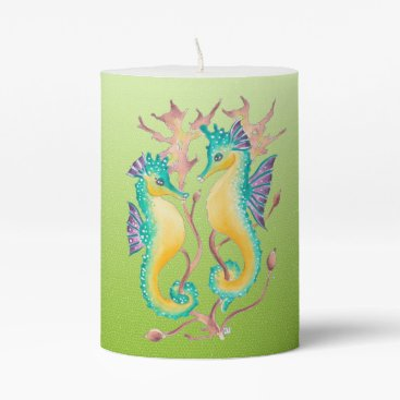 Beach Themed seahorses lime stained glass pillar candle