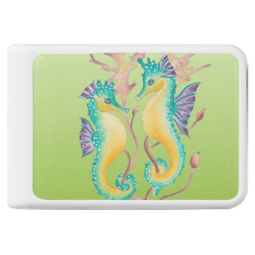 Beach Themed seahorses lime stained glass power bank