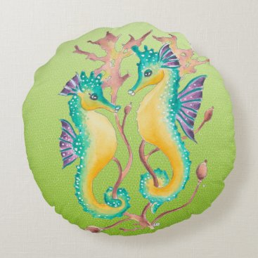 Beach Themed seahorses lime stained glass round pillow