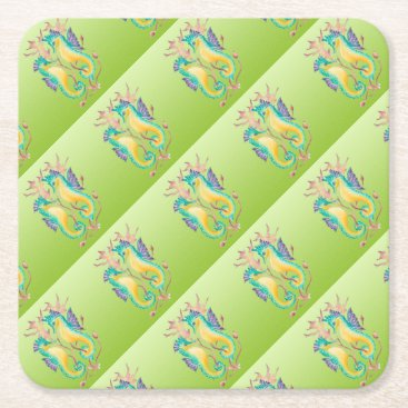 Beach Themed seahorses lime stained glass square paper coaster