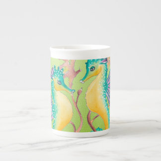 seahorses lime stained glass tea cup