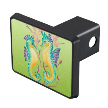 Beach Themed seahorses lime stained glass tow hitch cover