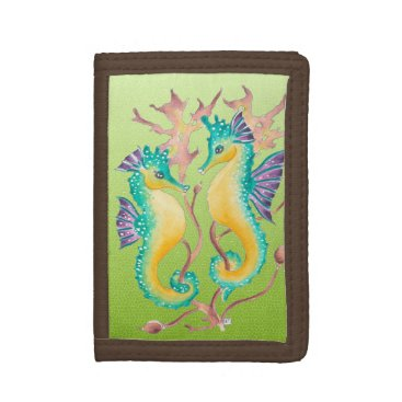 Beach Themed seahorses lime stained glass tri-fold wallet