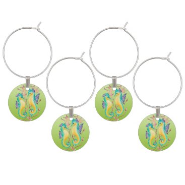 seahorses lime stained glass wine glass charm