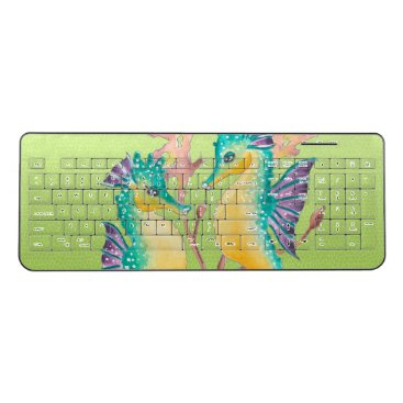 Beach Themed seahorses lime stained glass wireless keyboard