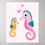 Seahorses lindos del dibujo animado en pálido - ra poster