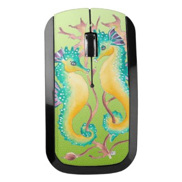 Beach Themed Seahorses Love Lime Wireless Mouse