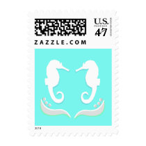Seahorses Modern Wedding Stamp