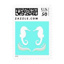 Seahorses Modern Wedding Stamp