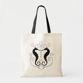 Seahorses negros del vintage bolsa de mano