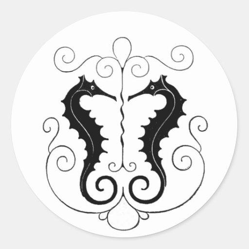 Seahorses negros del vintage pegatina redonda