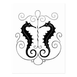 Seahorses negros del vintage postal