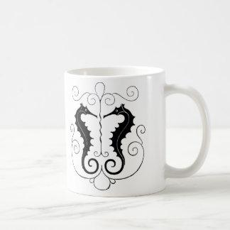 Seahorses negros del vintage taza básica blanca