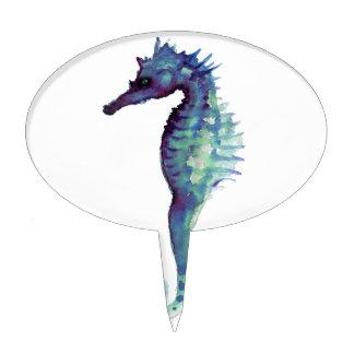 Seahorses oceánicos náuticos de mar del diseño azu decoraciones para tartas