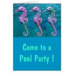 Seahorses on Ocean Background Card