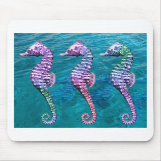 Seahorses on Ocean Background Mouse Pad