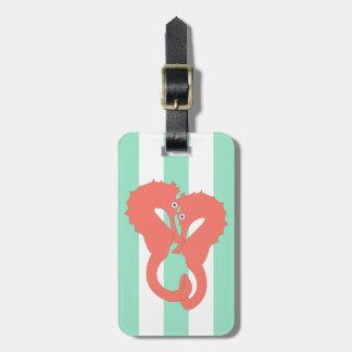 Seahorses on Seafoam Green Stripes Tag For Luggage