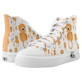 Seahorses Pattern High-Top Sneakers