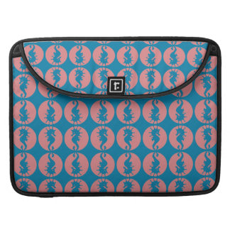 Seahorses Pattern in Melon and Dark Teal Blue Sleeve For MacBook Pro