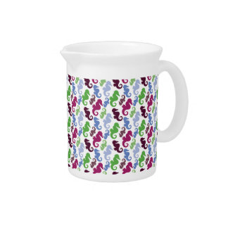 Seahorses Pattern Nautical Beach Theme Gifts Drink Pitchers