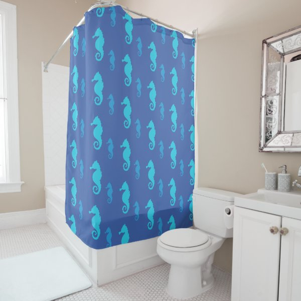 Seahorses Pattern, Ocean Marine Life, Custom Color Shower Curtain