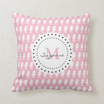 Beach Themed Seahorses Pattern | Pale Pink Monogram Throw Pillow