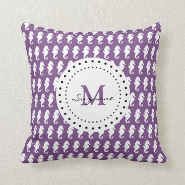 Beach Themed Seahorses Pattern | Purple Monogram Throw Pillow