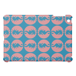 Seahorses Pern in Melon and Dark Teal Blue Case For The iPad Mini
