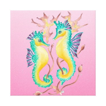 Beach Themed seahorses pink stained glass canvas print
