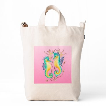 Beach Themed seahorses pink stained glass duck bag