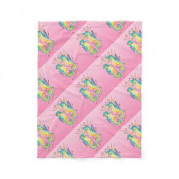 Beach Themed seahorses pink stained glass fleece blanket