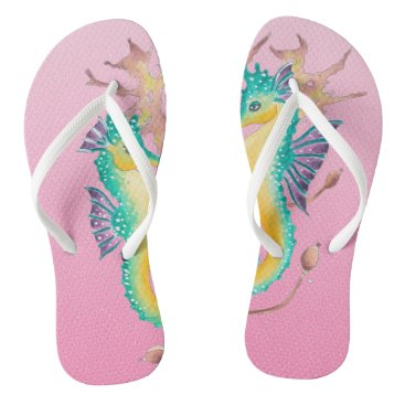 Beach Themed seahorses pink stained glass flip flops